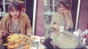 Pete Doherty sings (eats really fast) for his supper (breakfast)