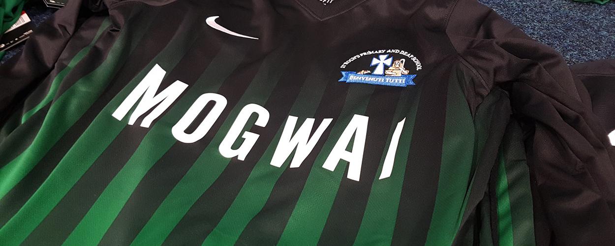 Saint Roch's Primary football strip sponsored by Mogwai