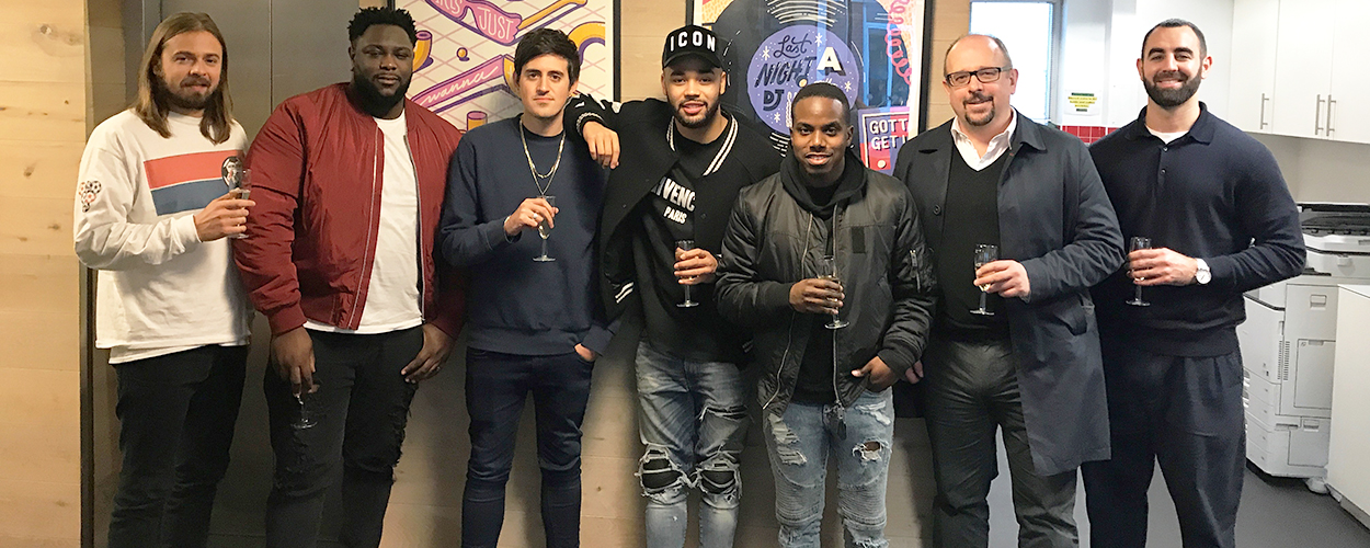 Pictured, left to right, in the photo are David Ventura (Sony/ATV Head of A&R, UK), Isaac Kyerematen (House Of Forever), Alex Sparks (Sony/ATV A&R Manager), Yungen, Byron Coote, Simon Dixon (Bray & Krais) and Jamal Rahman (Sony/ATV Business Affairs Manager)