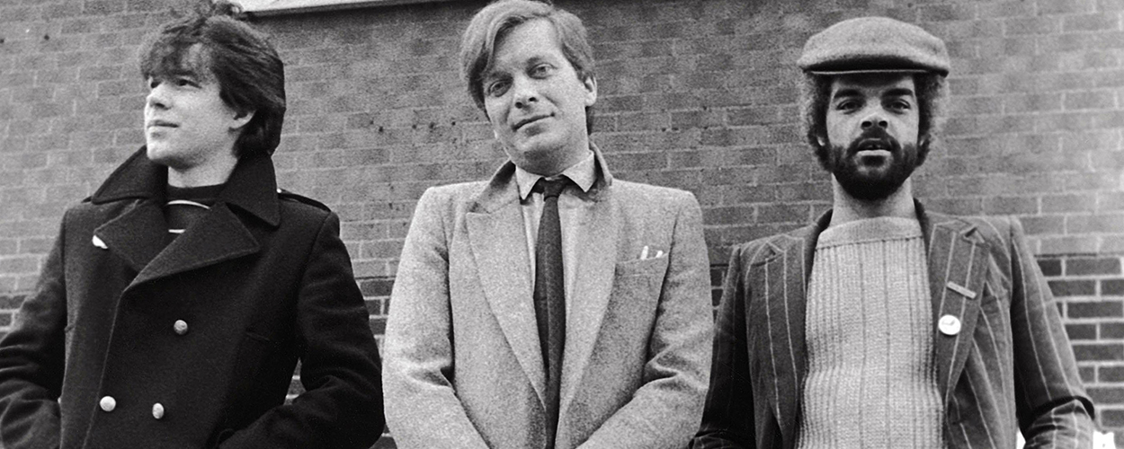 L-R: Peter Saville, Tony Wilson, Alan Erasmus, Factory Records