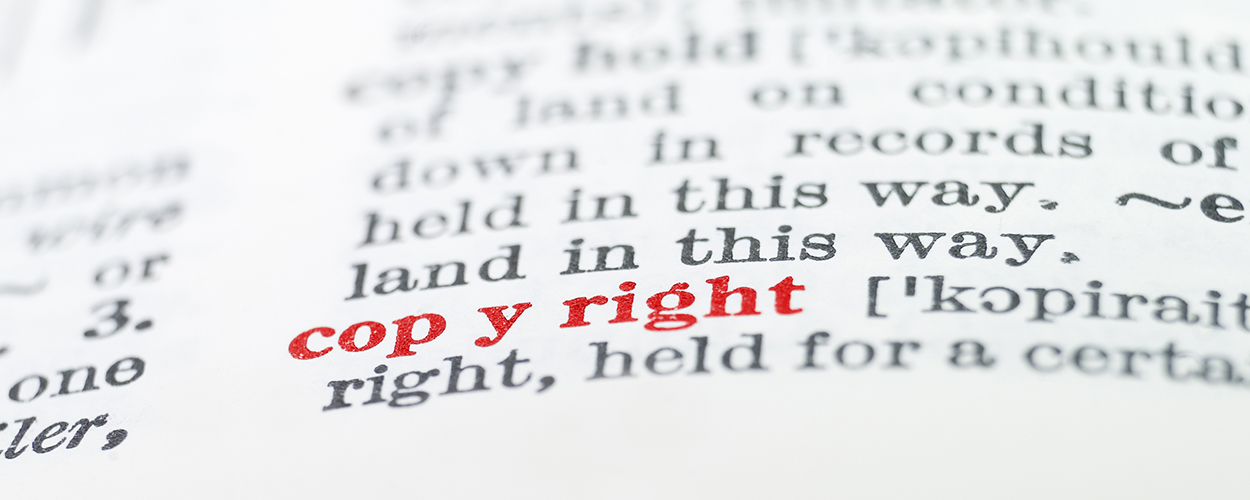 The word 'copyright' highlighted in a dictionary