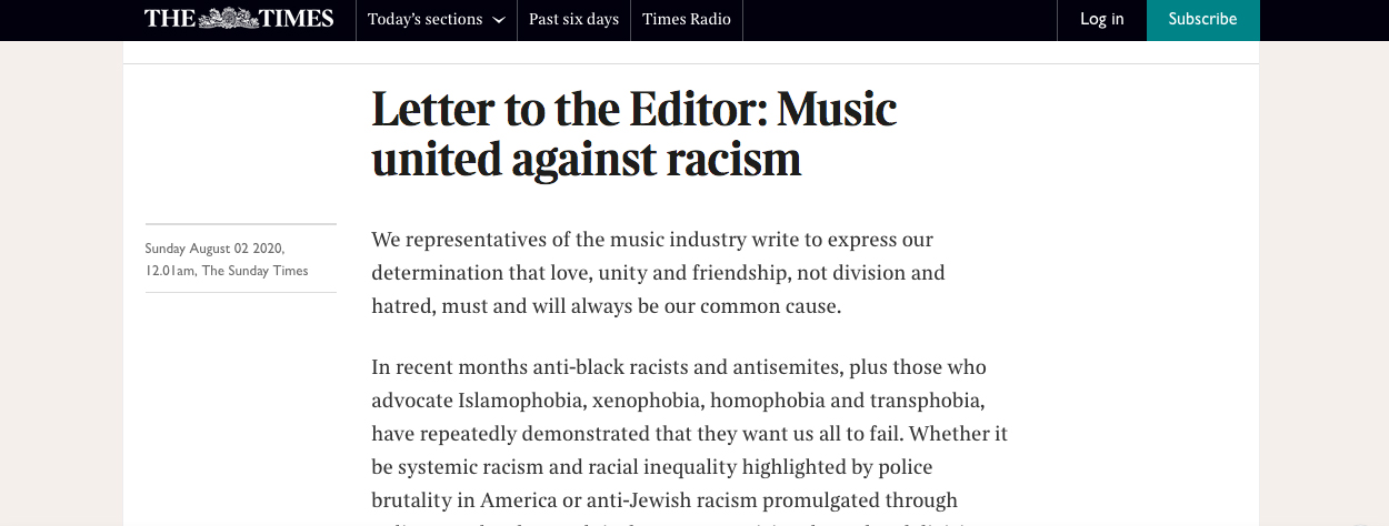 Anti-racism letter