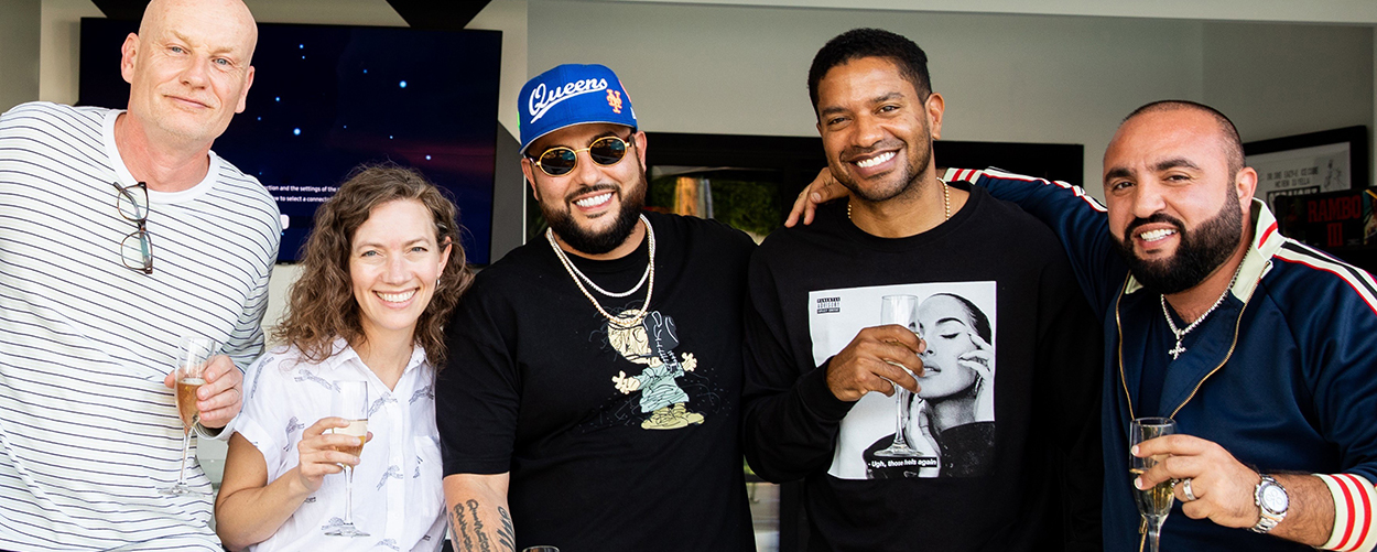 """L to R: Guy Moot, Co-Chair and CEO, WCM; Carianne Marshall, Co-Chair and COO, WCM; Belly, Songwriter/Rapper; Ryan Press, President of U.S. A&R, WCM; Wassim """"Sal"""" Slaiby, CEO, SALXCO & XO RECORDS"""